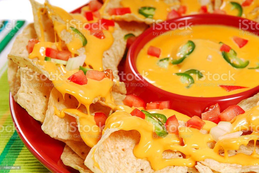 Plate of nachos stock photo