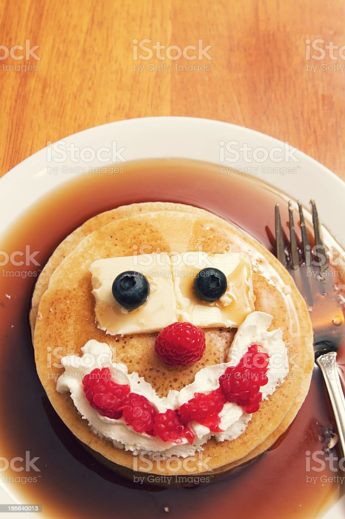 Plate of Pancakes with a Funny Face royalty-free stock photo