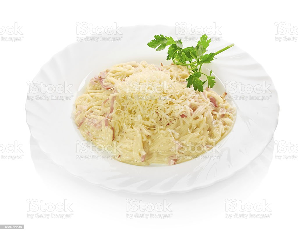 plate of pasta and smoked salmon royalty-free stock photo