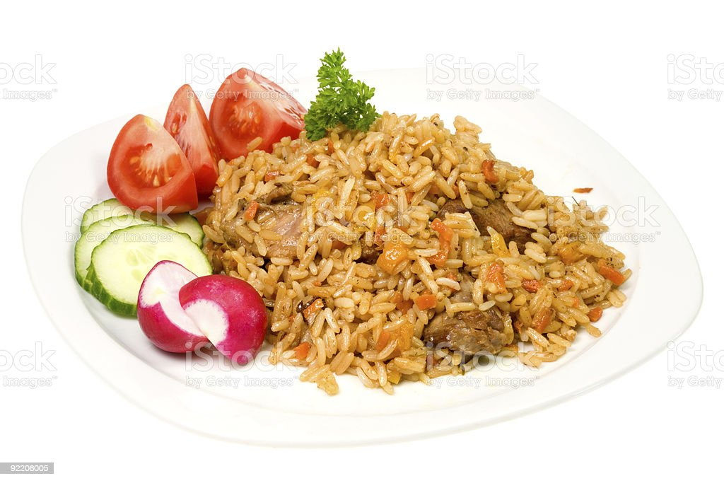 Plate of pilaf stock photo