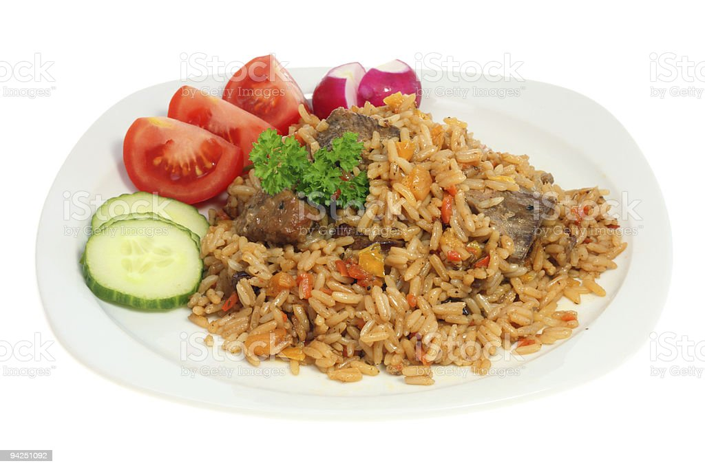 Plate of pilaf. royalty-free stock photo