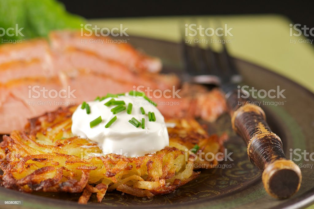 Plate of Potato Latke with Smoked Salmon royalty-free stock photo