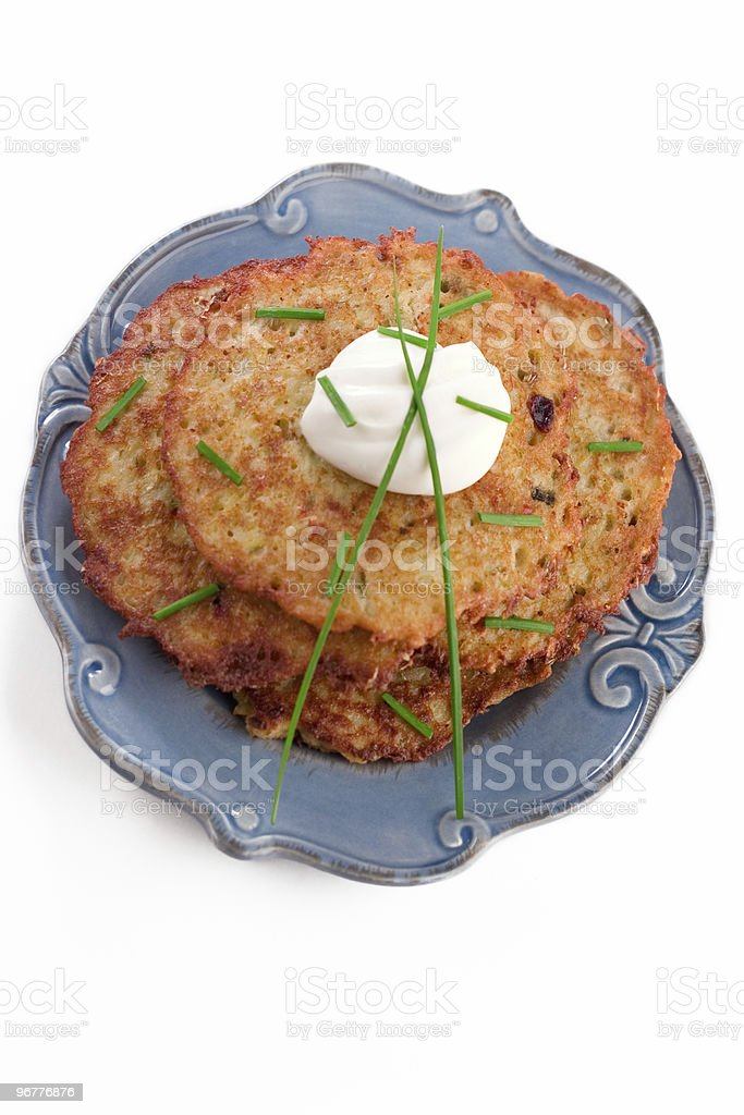Plate of Potato Pancakes stock photo