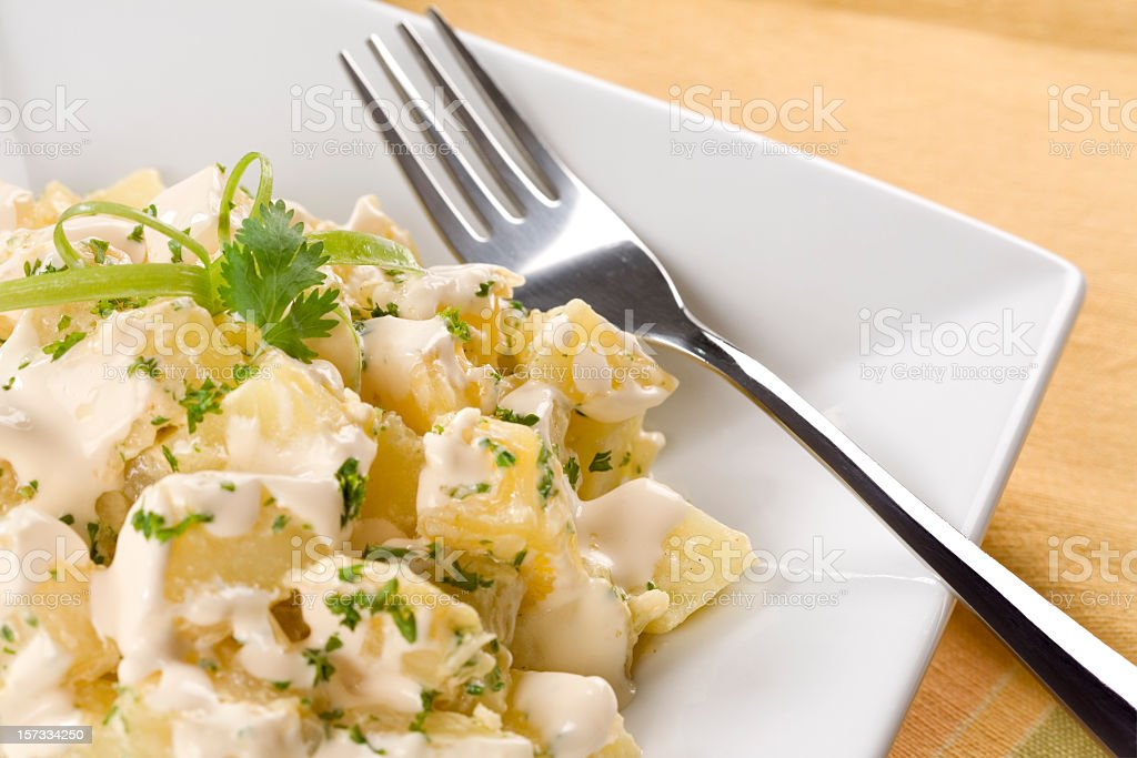 A plate of potato salad with a fork on it  stock photo
