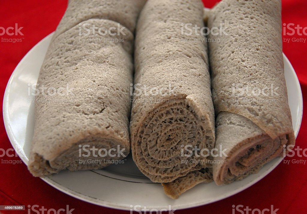A plate of rolled injera in Ethiopia stock photo