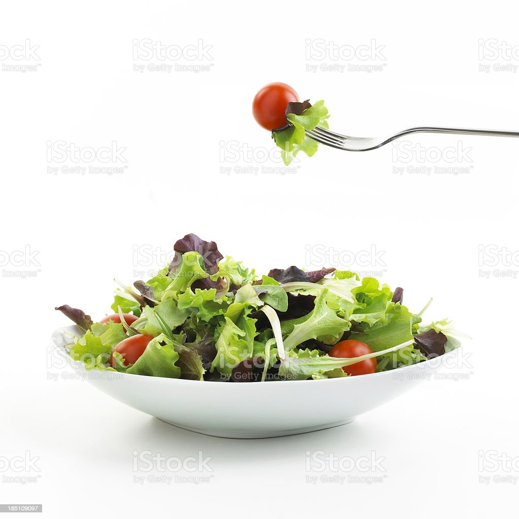 plate of Salad with fork stock photo