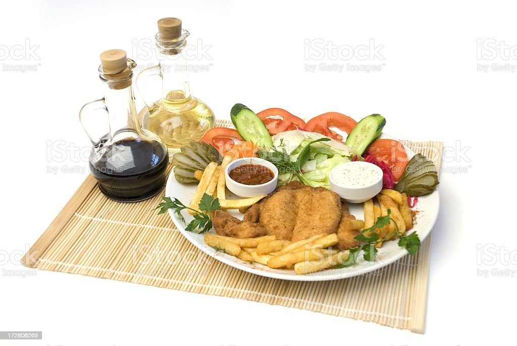 Plate of Schnitzel with Fries royalty-free stock photo