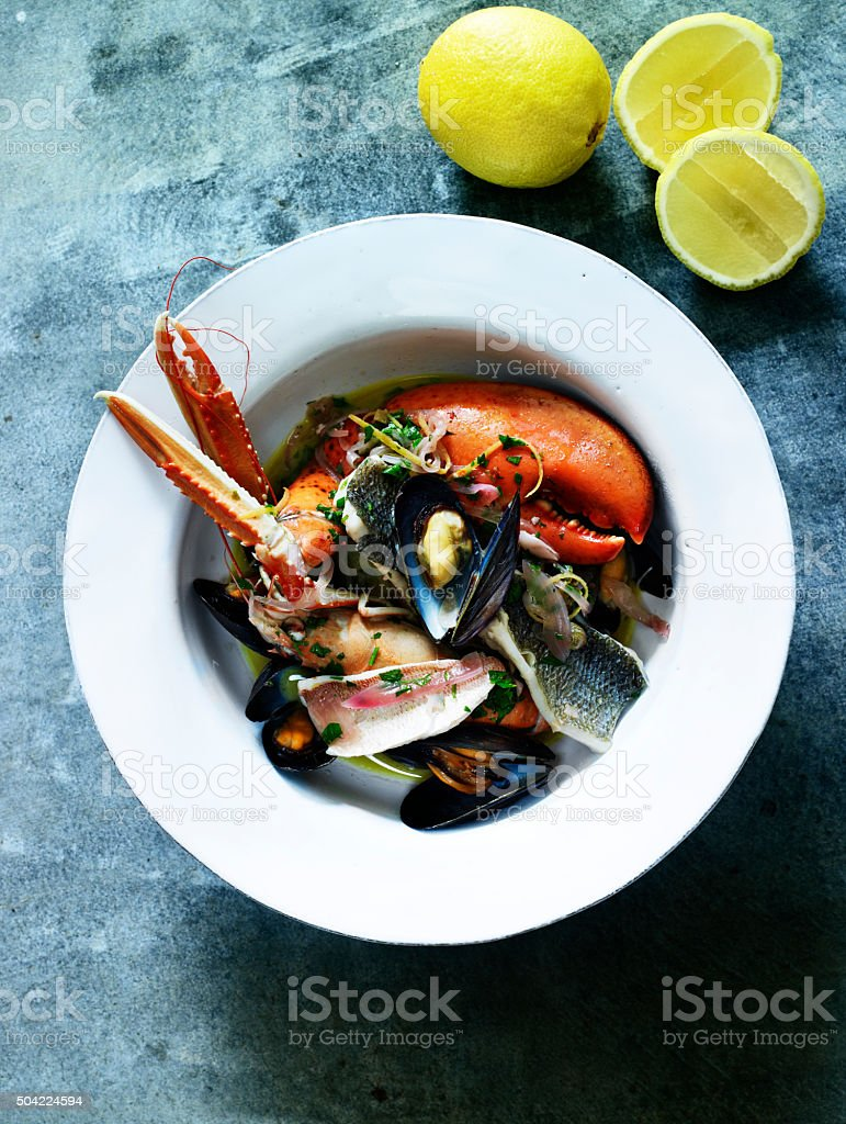 Plate of shellfish serving stock photo