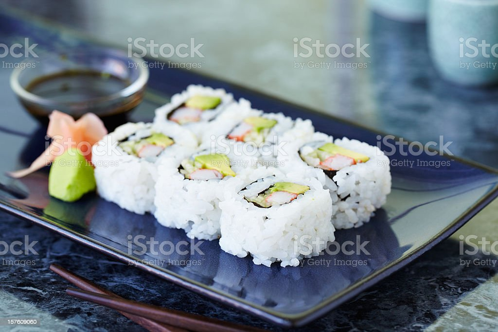 A plate of six California rolls stock photo