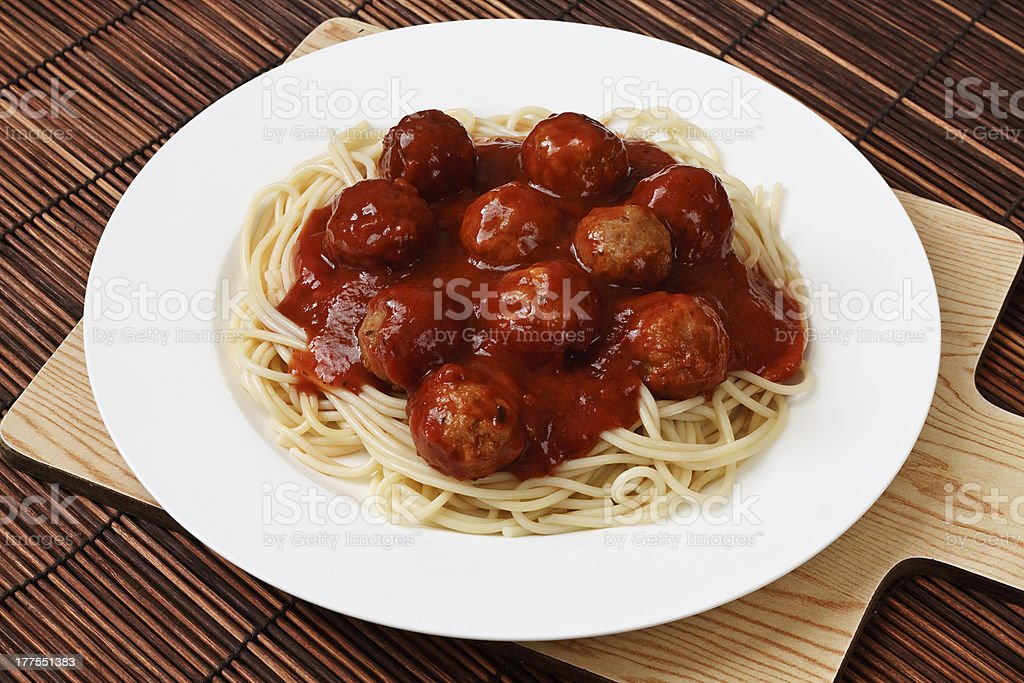 Plate of Spaghetti and Meatballs stock photo
