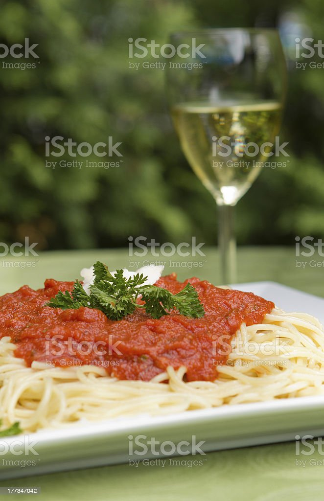 plate of spaghetti with bolognese sauce stock photo