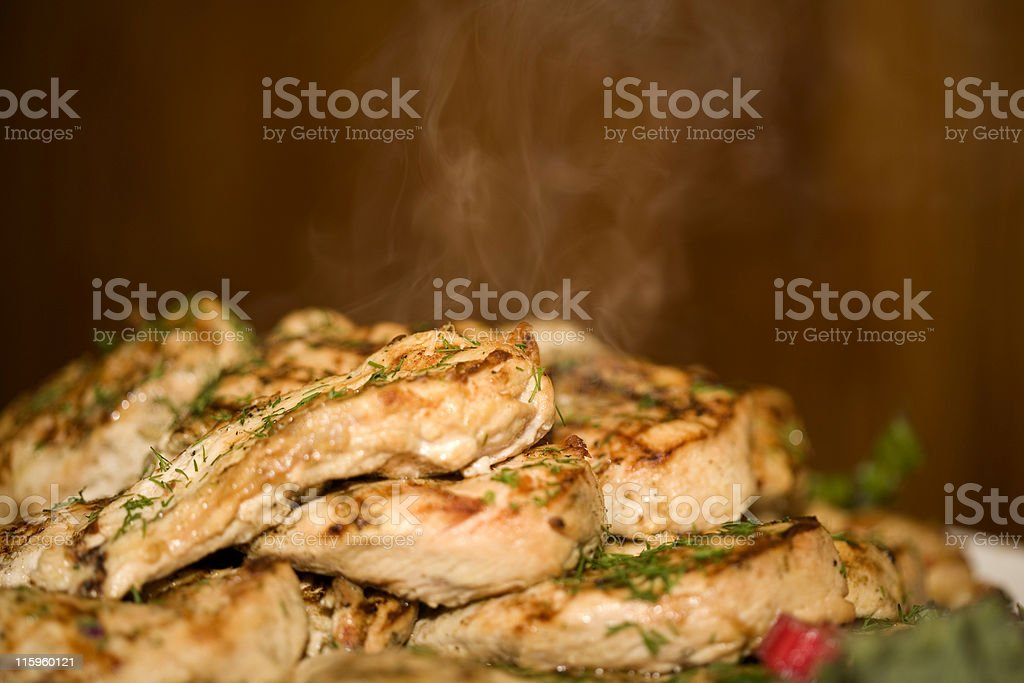 Plate of Steaming Chicken royalty-free stock photo