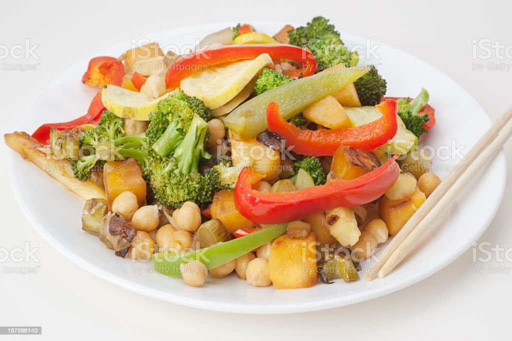 plate of stir fry vegetables royalty-free stock photo