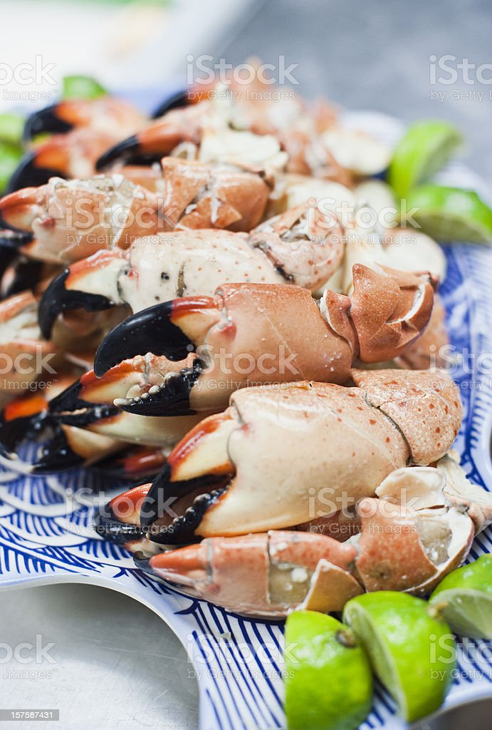 Plate of Stone Crab stock photo