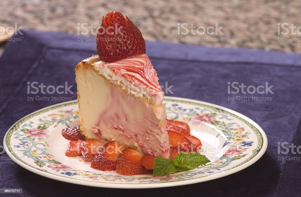 Plate of strawberry cheescake royalty-free stock photo
