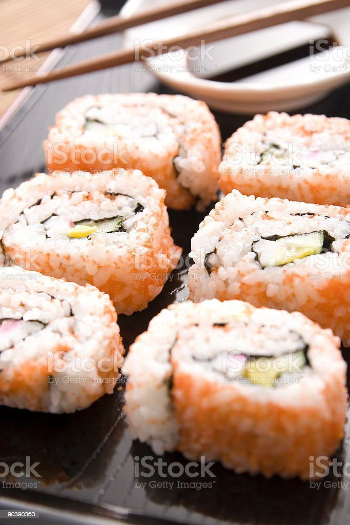 Plate of sushi royalty-free stock photo