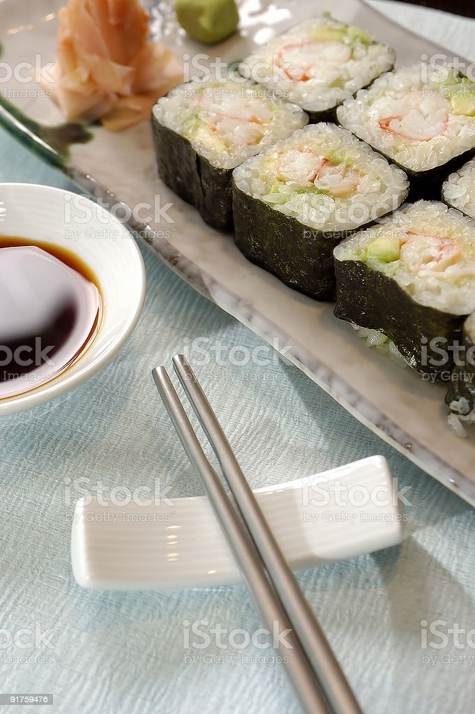 A plate of sushi royalty-free stock photo