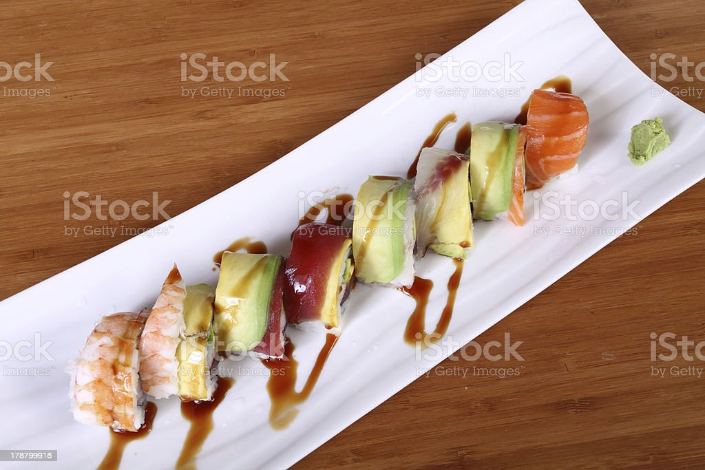 plate of sushi with wasabi sauce royalty-free stock photo