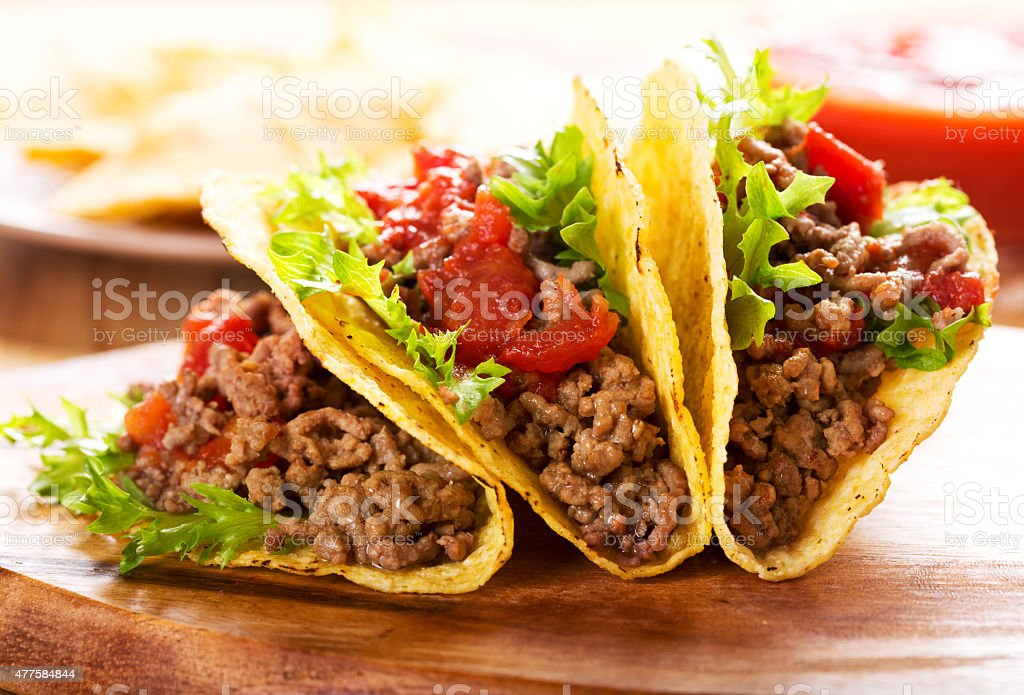 plate of tacos stock photo
