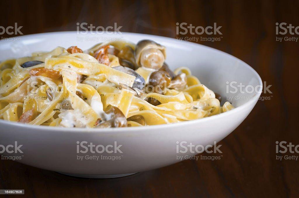 Plate of tasty Italian pasta royalty-free stock photo