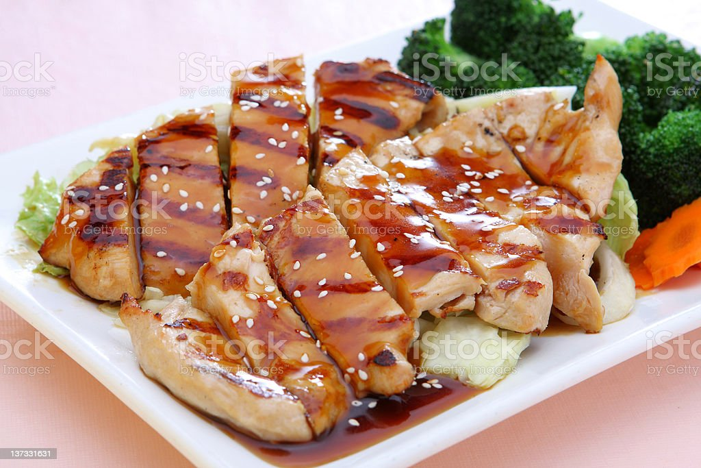 A plate of teriyaki chicken cut up with vegetables  stock photo