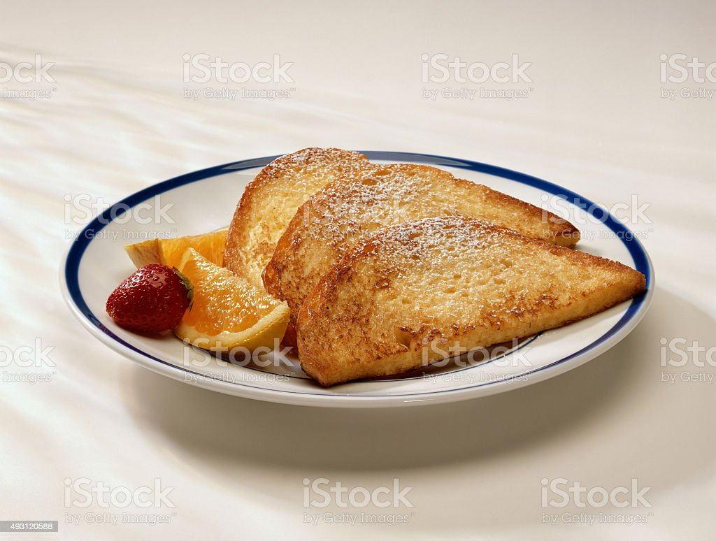 Plate of toasts stock photo