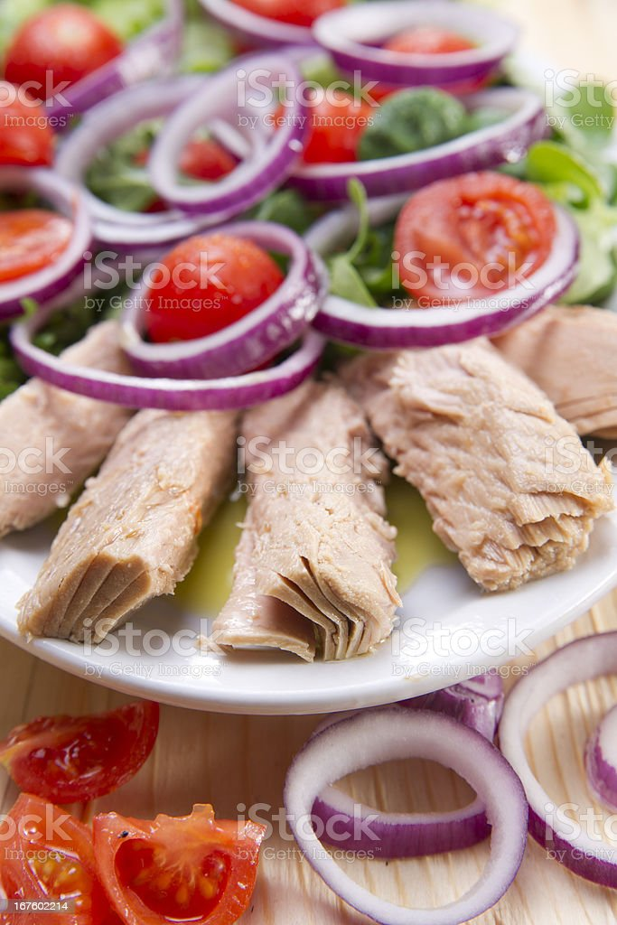 Plate of tuna steaks royalty-free stock photo
