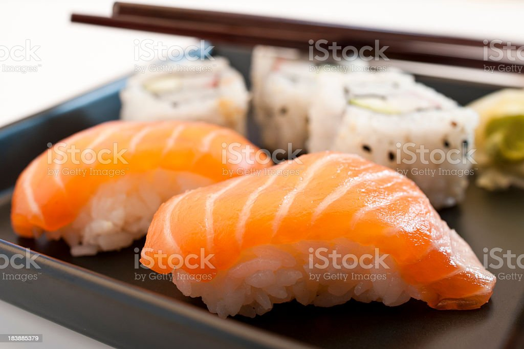 Plate of various types of sushi stock photo