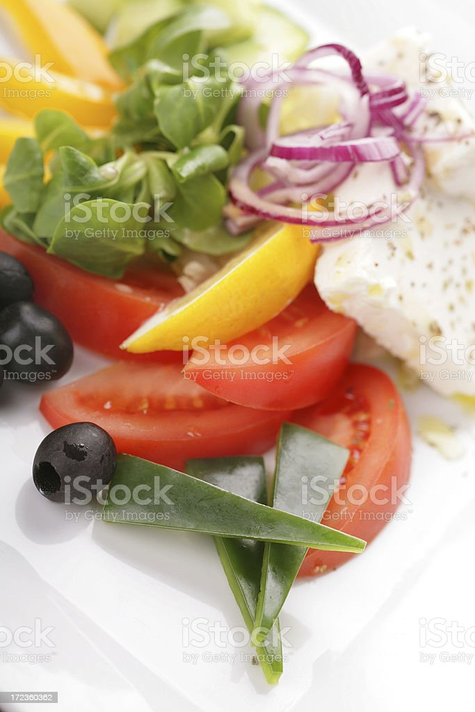 plate of vegetables with white cheese royalty-free stock photo