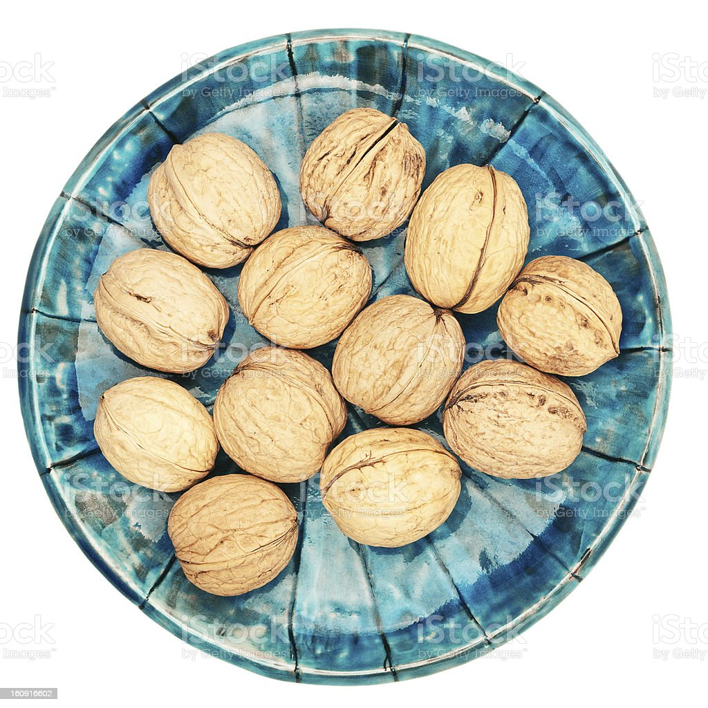 Plate of walnuts royalty-free stock photo