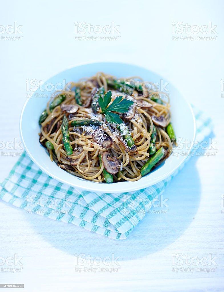 plate of whole wheat pasta stock photo