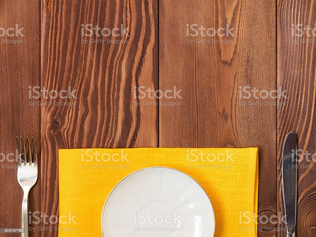 Plate on the table stock photo
