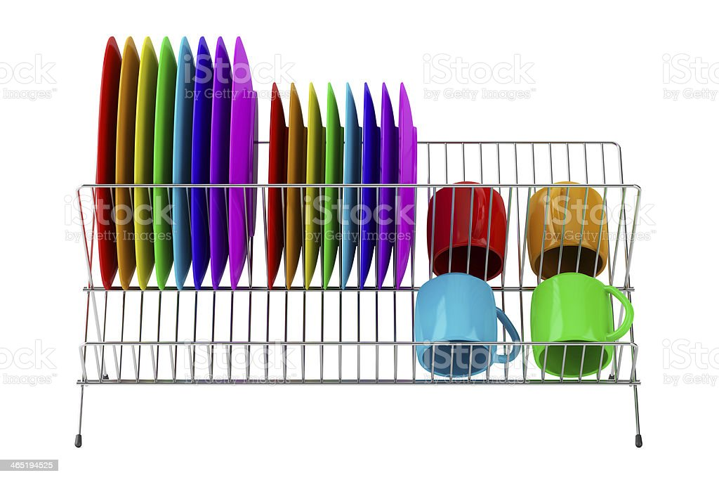 plate rack with multicolor tableware isolated on white background stock photo