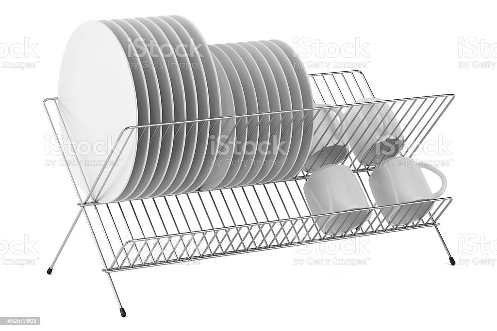 plate rack with tableware isolated on white background stock photo