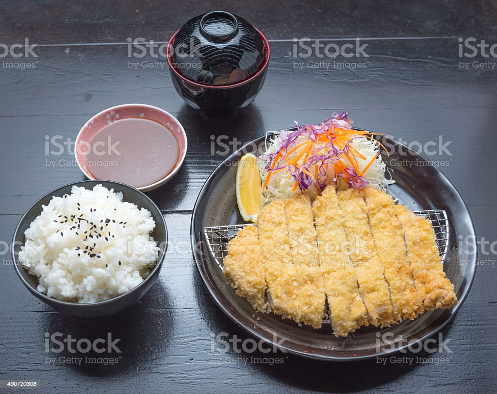 plate set of Tonkatsu Pork with Rice Miso Soup stock photo
