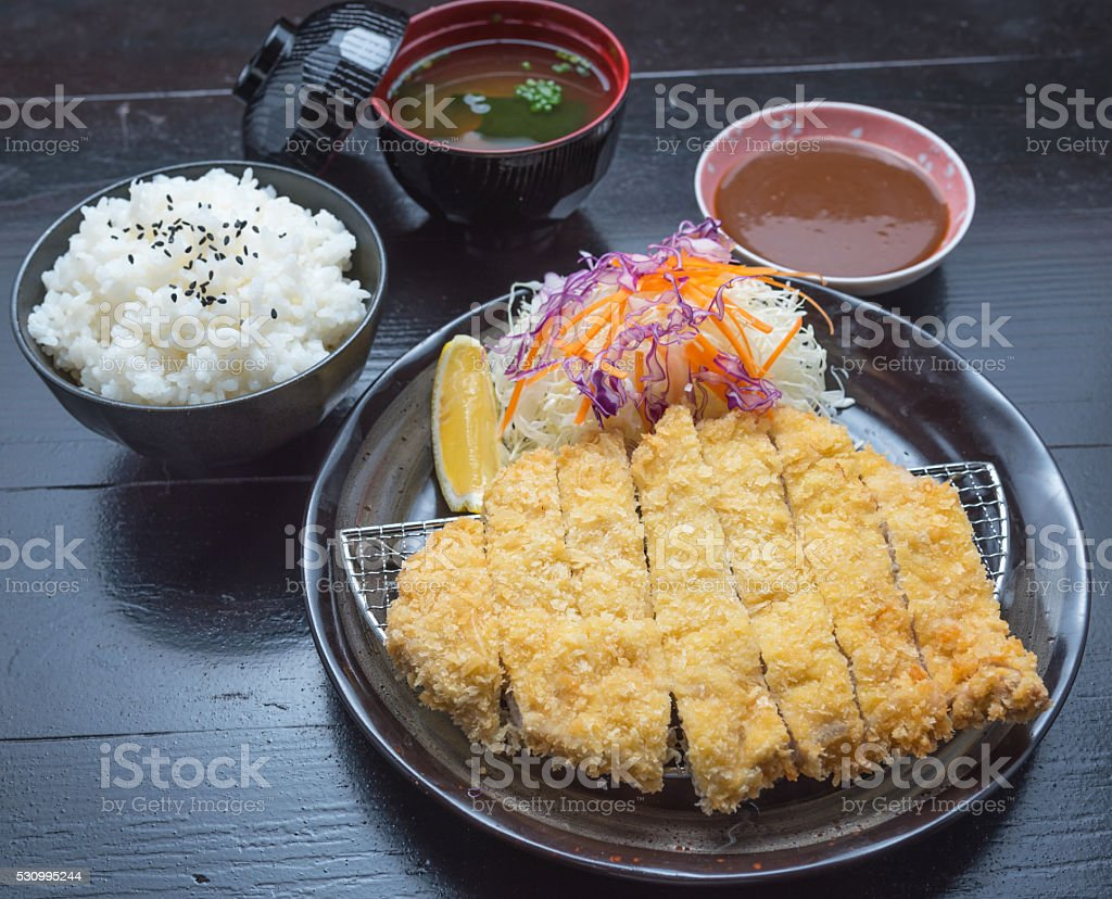 Plate set of Tonkatsu Pork with Rice stock photo