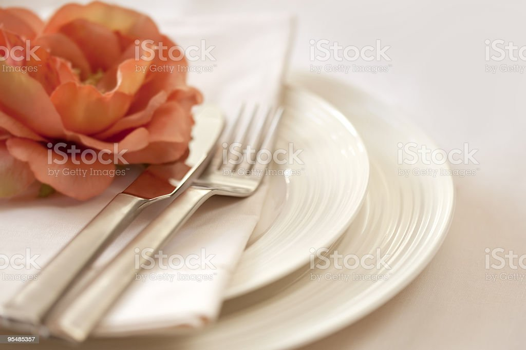Plate setting with utensils and napkins royalty-free stock photo