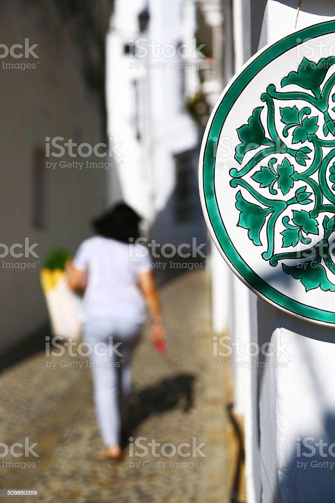 Plate souvenir in Arcos de la Frontera, Spain stock photo