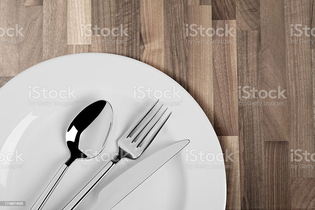 Plate, spoon, fork and Table knife royalty-free stock photo