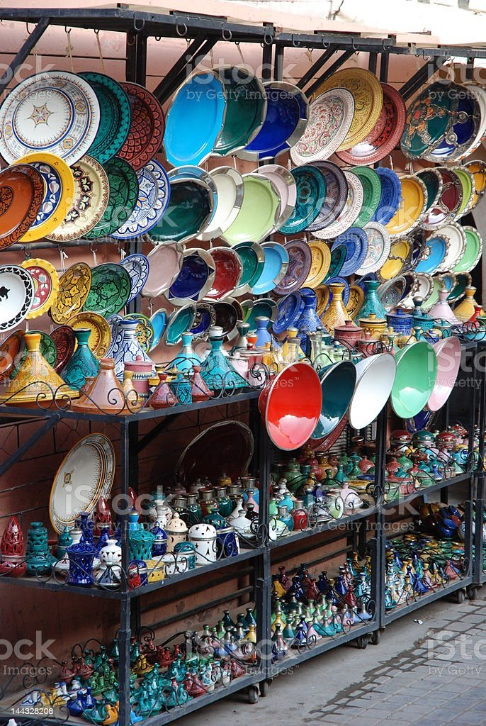 Plate Stall in Marrakesh royalty-free stock photo