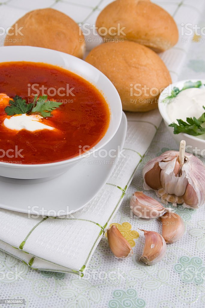 Plate tomato soup royalty-free stock photo