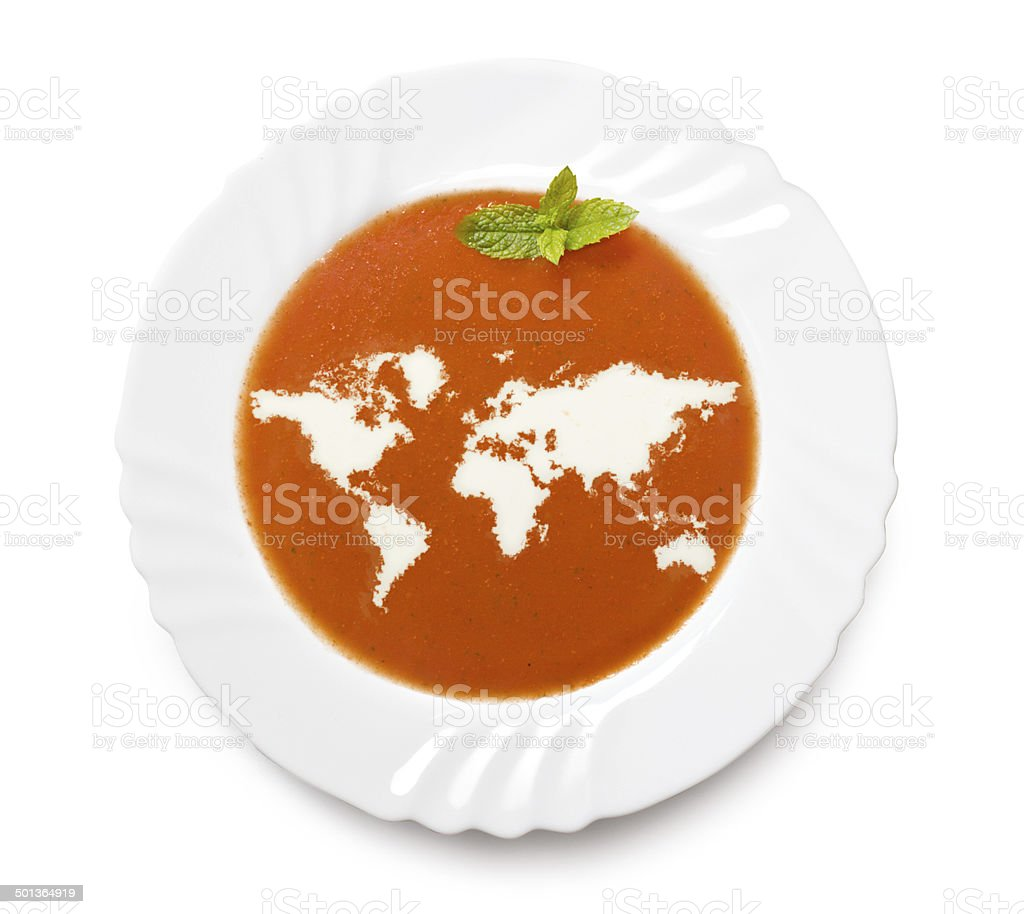 Plate tomato soup with cream (shape of the world) stock photo