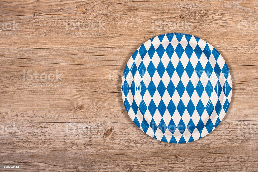 Plate with blue and white rhombuses stock photo