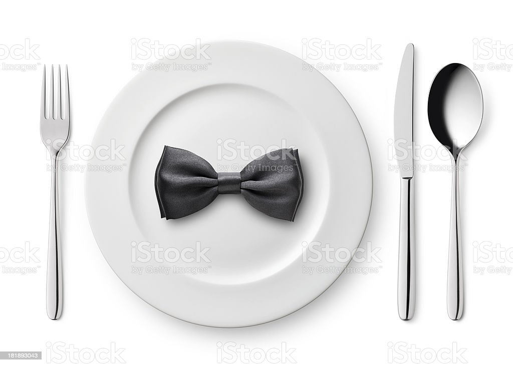Plate with bow tie. stock photo