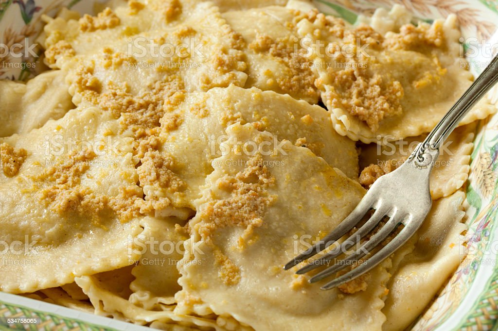 Plate With Braised Beef Agnolotti stock photo