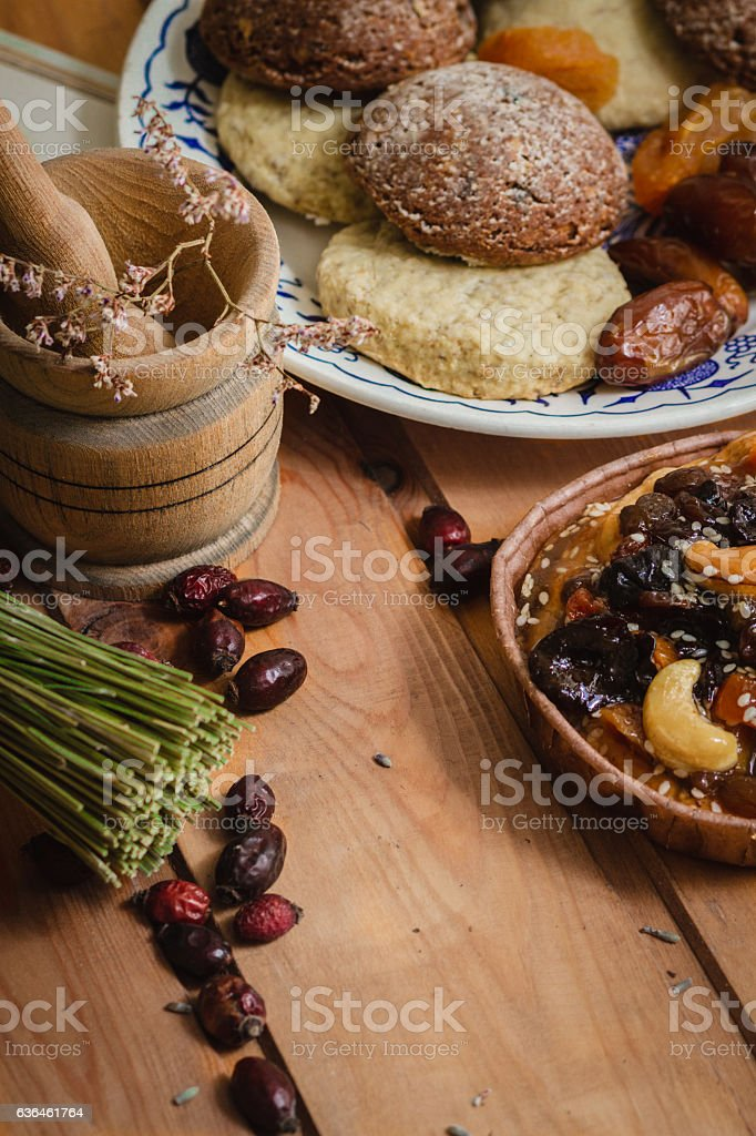 plate with cake on wooden saucers stock photo