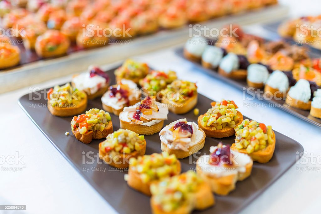 Plate with canapes stock photo