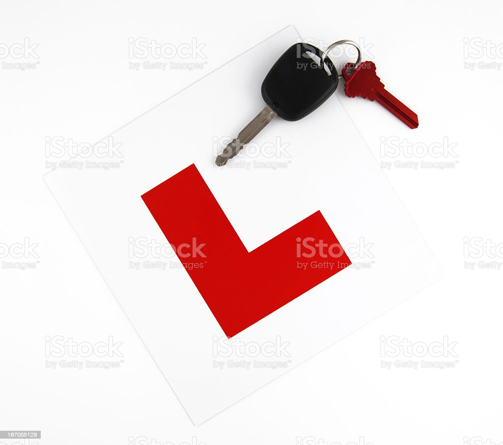 L Plate with Car Keys stock photo
