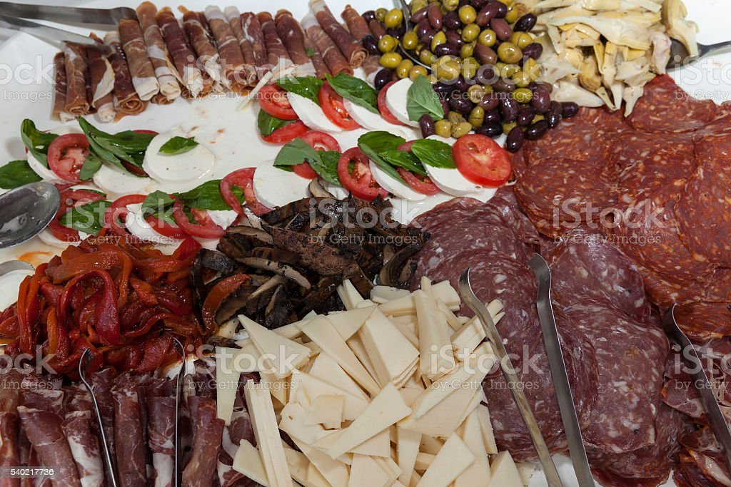 Plate with coldcuts stock photo