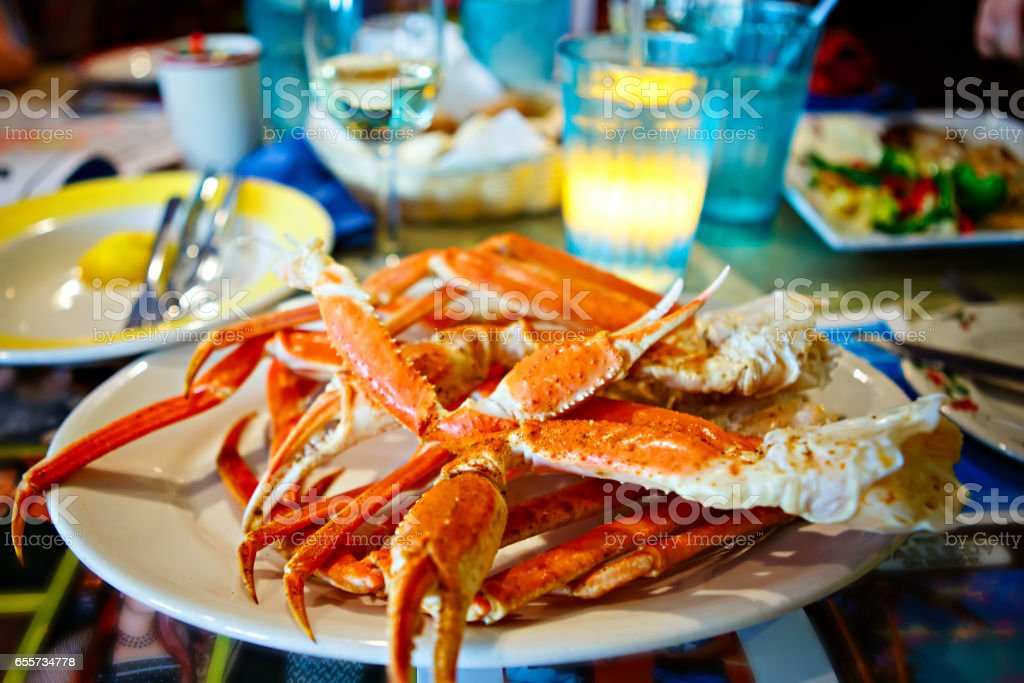 Plate with crab legs in a restaurant in Key West or New Orleans stock photo